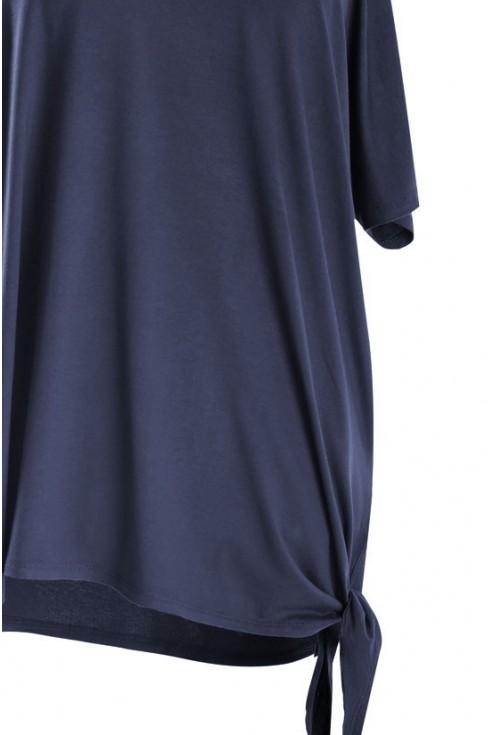 Bluzka z wiązaniem na boku DEANA - kolor granatowy