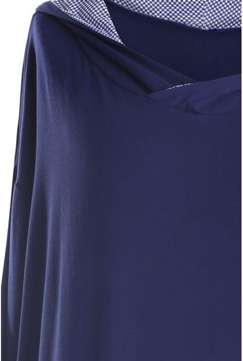Długa bluza z kapturem (wzór kratka) LILY - kolor granatowy