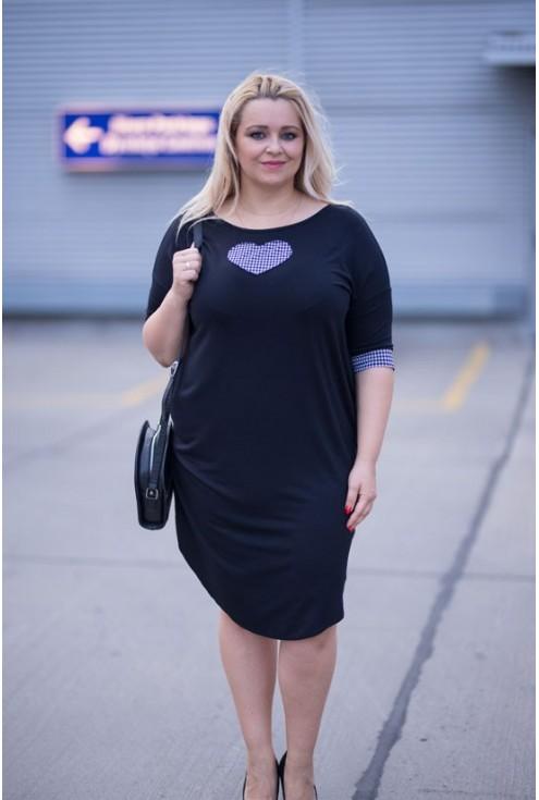 Czarna sukienka / tunika z serduszkiem EVELINA - motyw roślinny