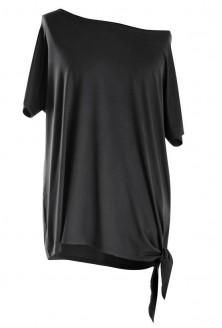 Bluzka z wiązaniem na boku DEANA - kolor czarny