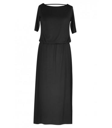 Czarna sukienka z marszczeniem woda na plecach LETITIA MAXI