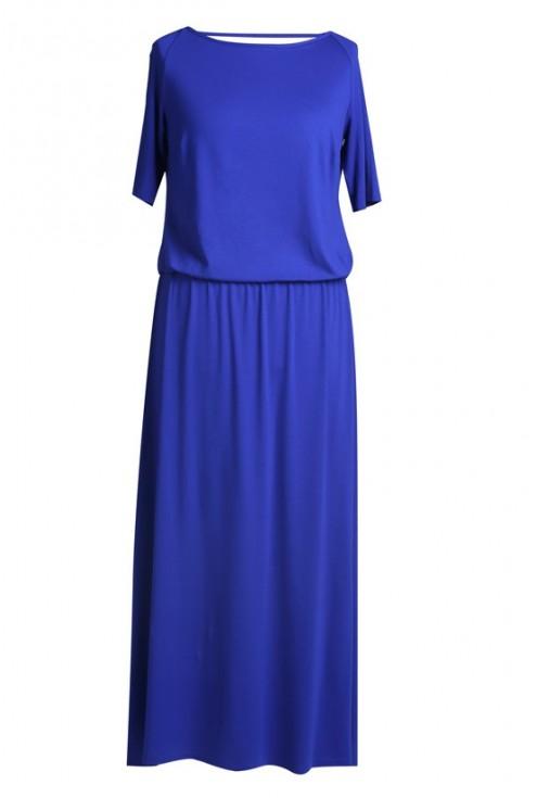 Chabrowa sukienka z marszczeniem woda na plecach LETITIA MAXI