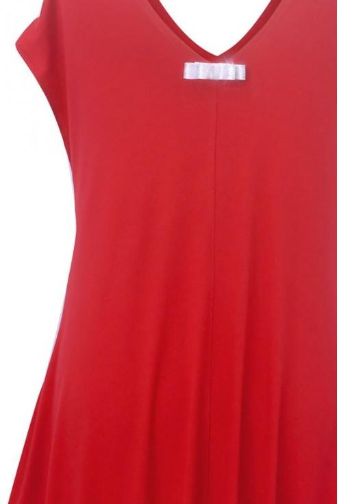 CZERWONA dzianinowa sukienka - CYNTIA