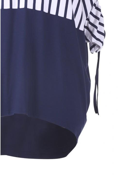Biało-granatowa bluzka z marszczonym rękawem FABIOLA