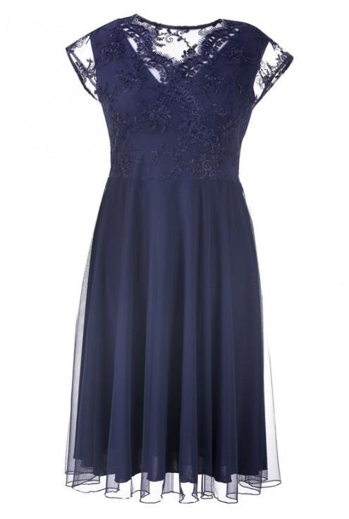 Granatowa wieczorowa sukienka z koronką LUCILLE