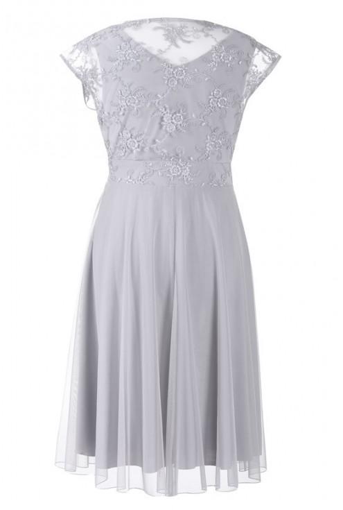 Szara wieczorowa sukienka z koronką LUCILLE