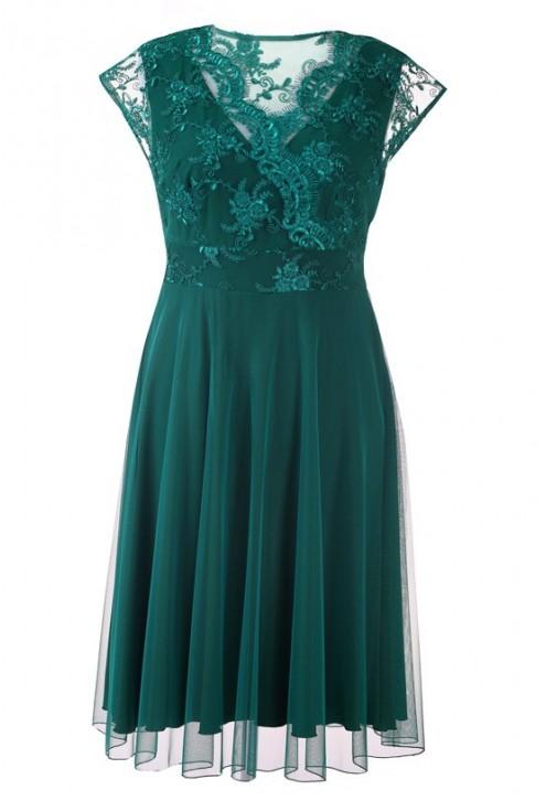 Zielona wieczorowa sukienka z koronką LUCILLE