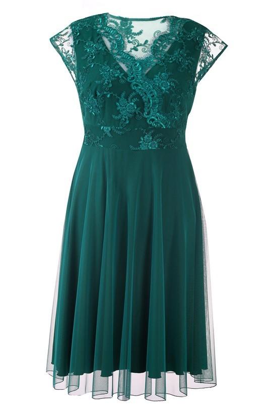afa19ff119 Zielona wieczorowa sukienka z koronką LUCILLE XL-ka