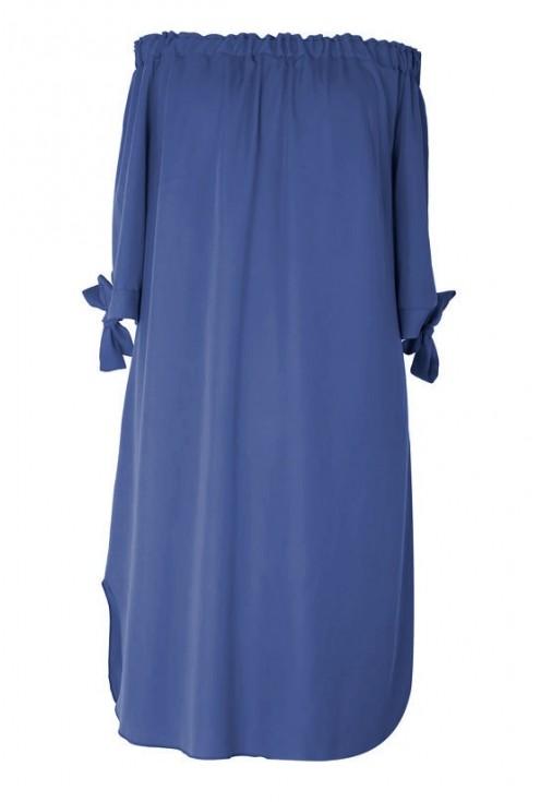 Sukienka hiszpanka - MARITA kolor jeansowy