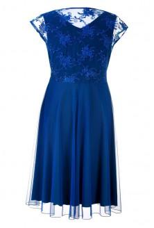 Kobaltowa wieczorowa sukienka z koronką LUCILLE