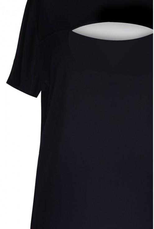 Czarna sukienka z wycięciem z przodu - NATALIE