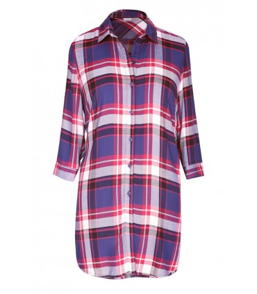 Długa koszula-tunika w granatowo-czerwoną kratę - SHEILA