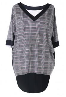 Bluzka / tunika w kratkę z dłuższym tyłem - CECILY