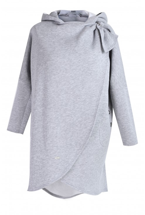 Jasnoszara ciepła bluza z kapturem - NEVA