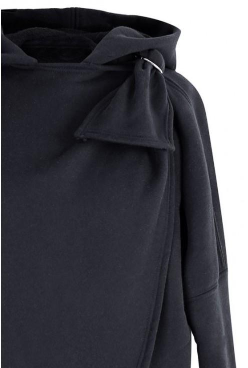 Czarna ciepła bluza z kapturem – NEVA