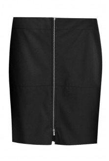 Czarna prosta spódnica z eco skóry - JULIET