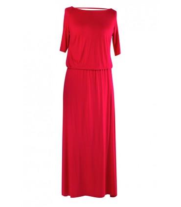 Wiśniowa sukienka z marszczeniem woda na plecach LETITIA MAXI