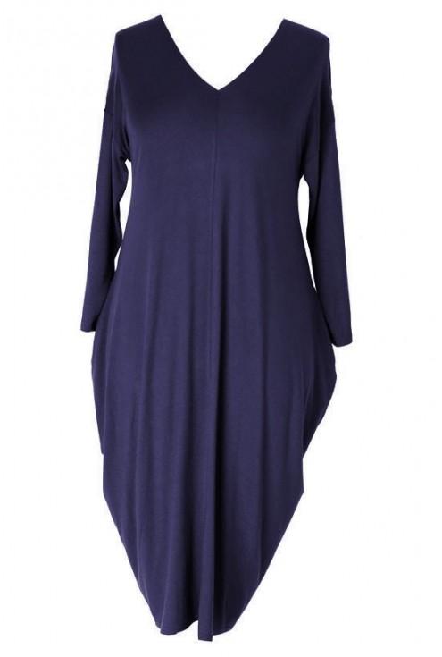Granatowa sukienka CYNTIA z długim rękawem