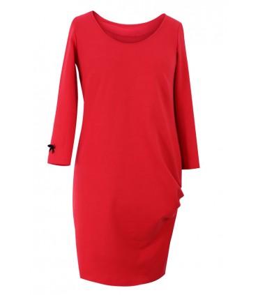 Czerwona sukienka z marszczeniami na boku – CLARA