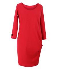 Czerwona sukienka z marszczeniami na boku - CLARA