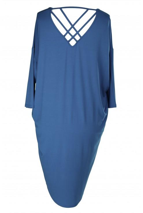 Sukienka z paseczkami na plecach ESTHER - kolor jeansowy