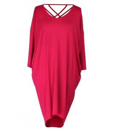 Sukienka z paseczkami na plecach ESTHER - kolor różowy