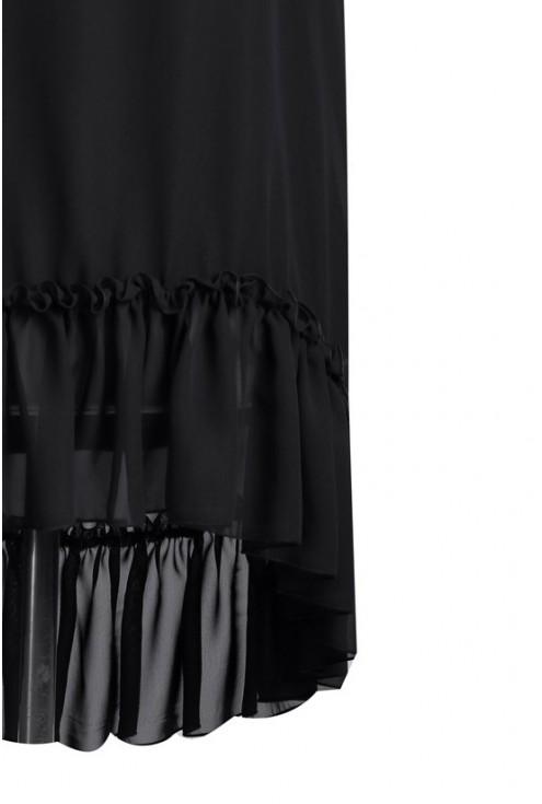 Czarna szyfonowa tunika z falbanką MAGAN