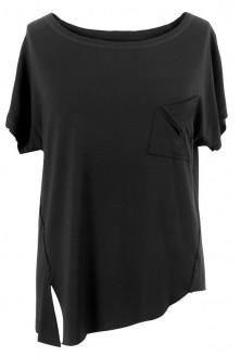 Czarna bluzka asymetryczna z kieszonką VIKKA