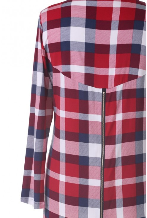 Długa koszula / tunika w czerwoną kratę - HILDA