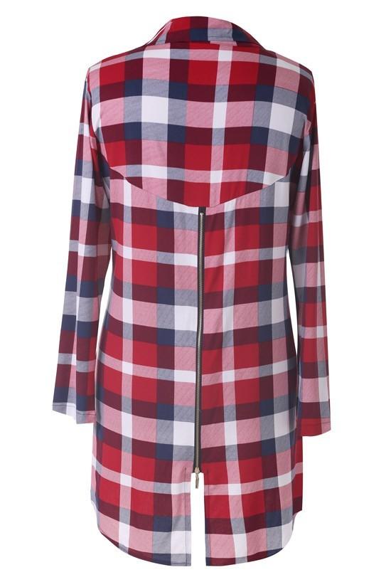 Długa koszula tunika w czerwoną kratę HILDA Sklep XL ka  yG2f5
