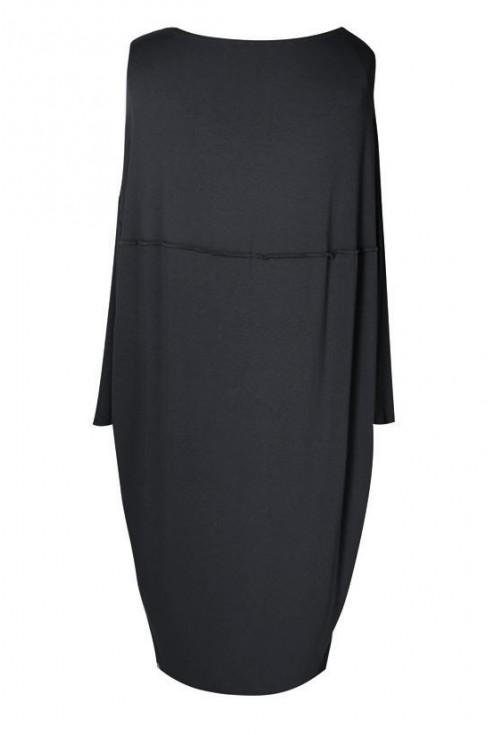 Czarna sukienka oversize z przeszyciem CLAUDIA