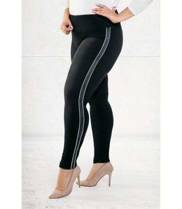 Czarne legginsy z białym lampasem ODETA