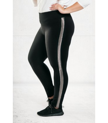 Czarne legginsy ze srebrnym lampasem NADIA