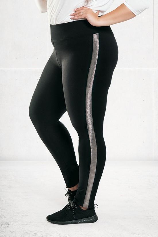 befb55559f9347 Czarne legginsy ze srebrnym lampasem NADIA - XL-ka