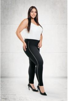 Czarne legginsy z lampasem - duże rozmiary