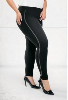 Czarne legginsy z lampasem w dużych rozmiarach