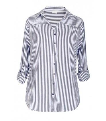 Koszula w biało-szare paski - MURIEL