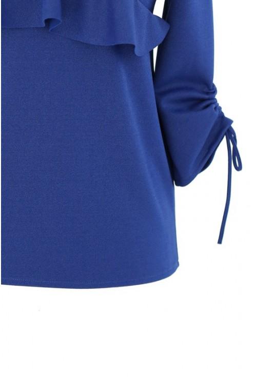 Chabrowa bluzka z dekoltem V i ściąganym rękawem INGA
