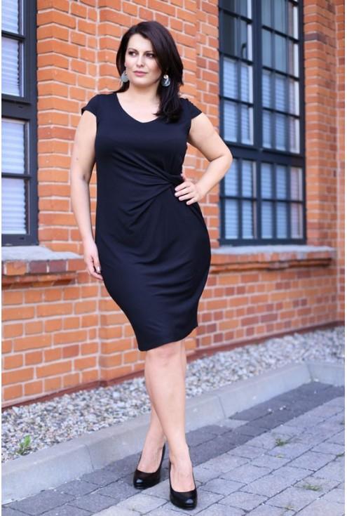 Czarna sukienka z marszczeniem OLIVIA 2