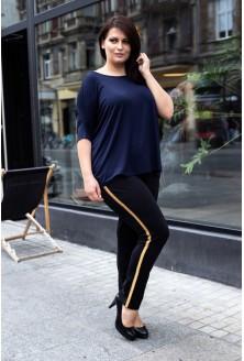 Czarne spodnie dresowe ze złotym lampasem - MOLY