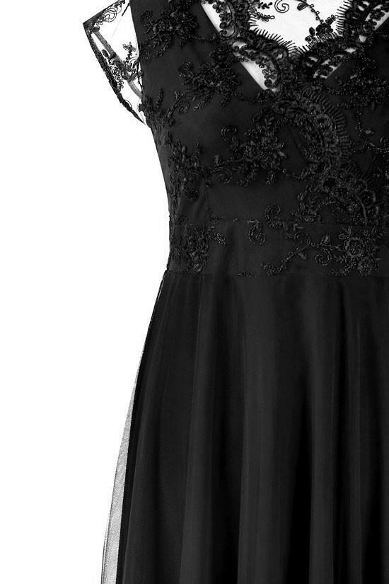 989c2e4384 Czarna wieczorowa sukienka z koronką LUCILLE Sklep PLUS SIZE XL-ka