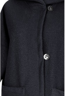 Czarny płaszcz oversize z kapturem TIFFANY
