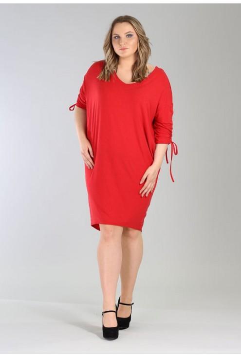 Czerwona sukienka ze ściąganym rękawem – ESME