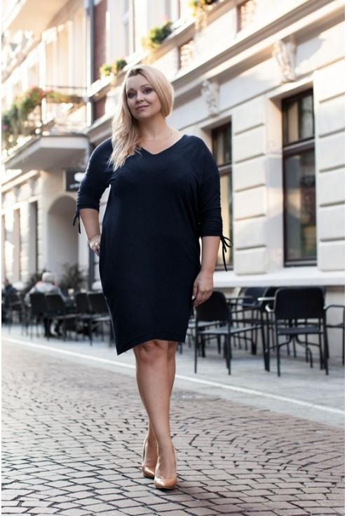 GRANATOWA sukienka ze ściąganym rękawem – ESME