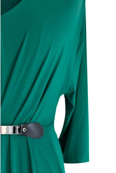 Zielona sukienka dzianinowa z rękawem 3/4 LUNA