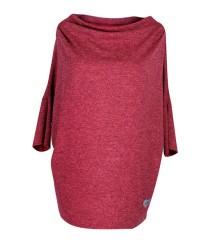 Luźny czerwono-bordowy sweterek CLARISSA z rękawkiem 3/4