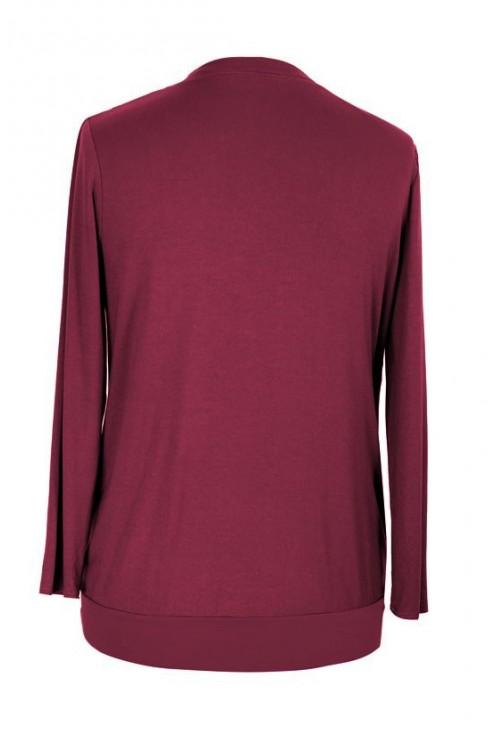 Dwuczęściowa bordowa bluzka podkreślająca dekolt ANITA
