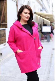 Różowy płaszcz oversize z kapturem TIFFANY