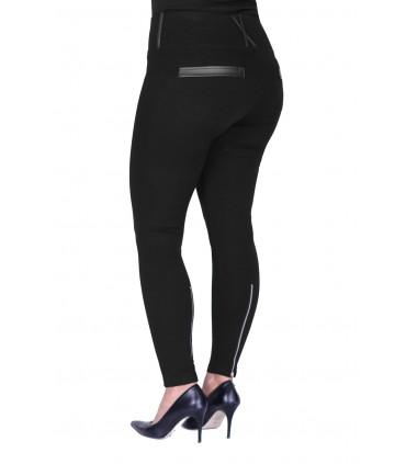 POLSKIE czarne legginsy z suwakami i eko skórą DANIELA