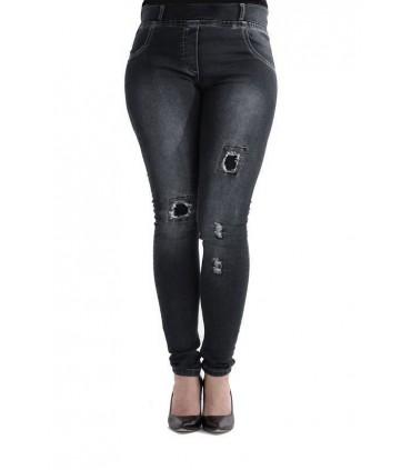 CZARNE spodnie jeansowe z dziurami LYDIA